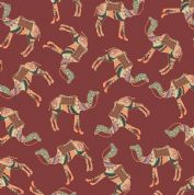 Inprint Indian Spice Market - 4512 - Camel Train on Dusky Pink - 2025 R80 - Cotton Fabric